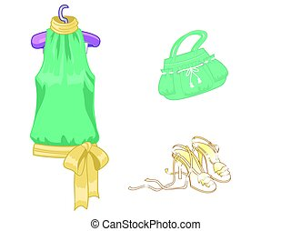 Set of lady s accessories, icons. Isolated objects