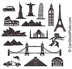 landmarks in black with elements