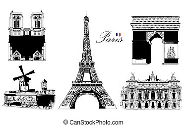 Set of landmarks of Paris (Eiffel tower, Triumphal Arch, Notre Dame Cathedral, Moulin Rouge, Opera Garnier). Vector hand drawing illustration in black color isolated on white background