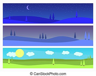 Set of landscapes: morning, twilight, night. Natural landscape in a flat style with trees, panorama. Vector illustration