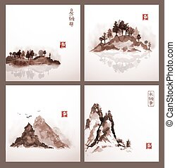 Set of landscapes with islands and mountains