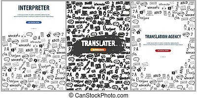 Set of Language Translator banners with hand-draw doodle on the background. Concept of translating agency and interpreting.