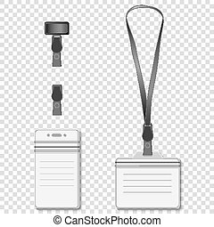 Set of lanyard name tag holder retractor end badge templates. Vector