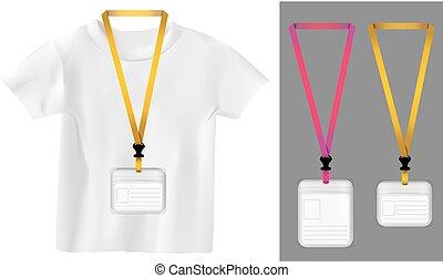 Set of lanyard, retractor end badge