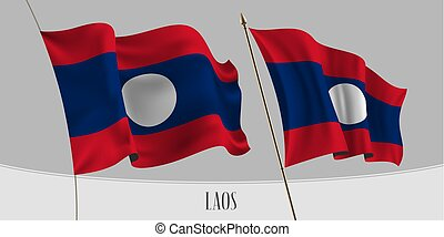 Set of Lao waving flag on isolated background vector...