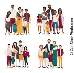 Set of large family portrait. Different nationalities african, indian, european, asian mother, father and five children. Happy people with relatives. Colorful flat vector illustration.