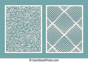 Set of Laser cut panels. Template Patterns for decorative panels. Canvas cut out. Paper cut decorative design.