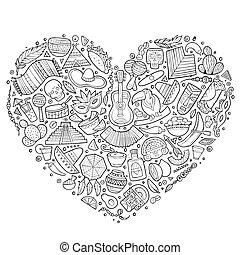Set of Latin American cartoon doodle objects - Line art...