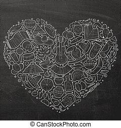 Set of Latin American cartoon doodle objects - Chalkboard...