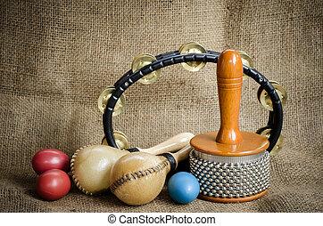 set of Latin percussion - Set of Latin percussion on brown...