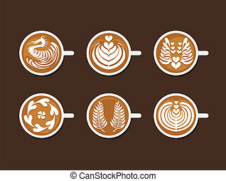 Set of Latte Art White Cup - Collection of Coffee Drinks & ...