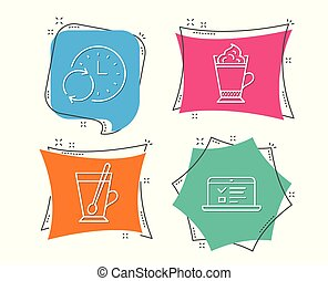 Latte coffee, Update time and Tea mug icons. Web lectures sign.