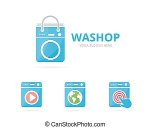 Set of laundry logo combination. Washing machine and shop symbol or icon. Unique washer and sale logotype design template.