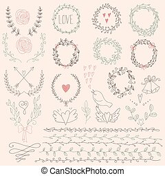 Set of Laurel Floral Wreaths and Fr - Hand drawn laurels,...