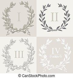 Set of laurel wreaths 1