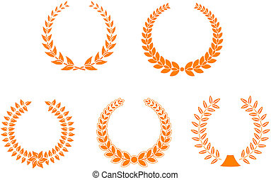 Set of laurel wreaths for design and decorate