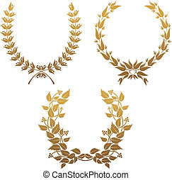 Set of laurel wreaths - Set of gold laurel wreaths for...