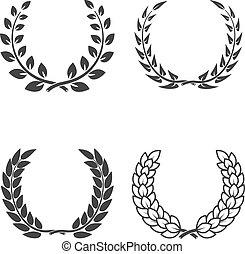 Set of laurel wreaths isolated on white background. Design eleme