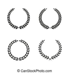 Set of laurel wreaths on white background.