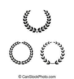 Set of laurel wreaths on white background.