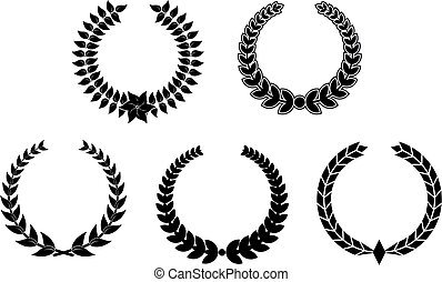 Set of laurel wreaths - Set of black laurel wreaths for...