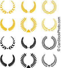 Set of gold and black laurel wreaths