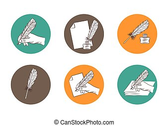 set of law firm logotypes with feather and hand