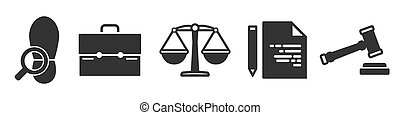 Set of law simple icons in black