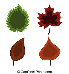 Set of leaf icon. Cartoon style. Vector Illustration.