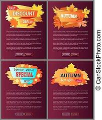 Set of Leaflets with Foliage Autumn Big Sale 2017