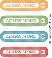 Set of learn more buttons with shadows on a white background