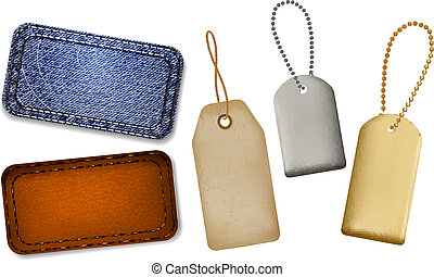 Set of leather and jeans labels