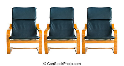 Set of leather armchair.