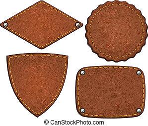 Set of leather labels. Vector illustration