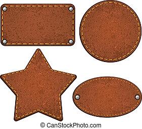 Set of different leather labels. Vector illustration