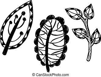 set of leaves doodle