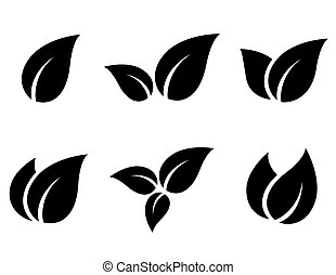 set of leaves icons