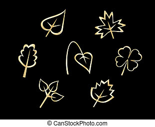 Set of leaves icons isolated on background