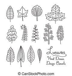 set of leaves in cartoon style