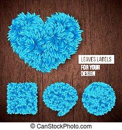 Set of leaves labels for Your design. Vector illustration.