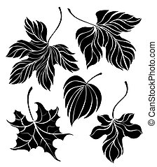 set of leaves silhouette