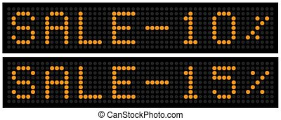 set of led boards with the words Sale 10 and 15 percent