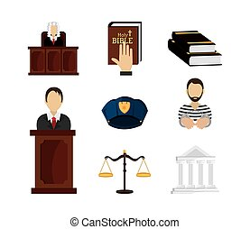 set of legal law and justice icons