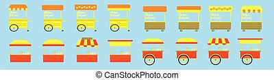 set of lemonade stand cartoon icon design template with various models. vector illustration isolated on blue background