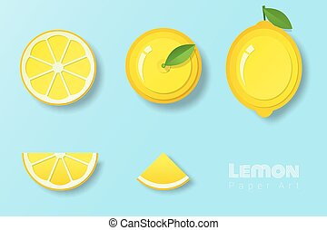 Set of lemons in paper art style
