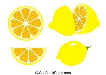 Set of lemons. Vector whole and sliced lemon on white background.