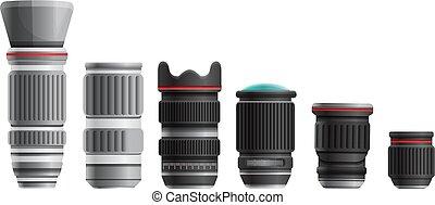 set of lenses for a digital camera, vector illustration