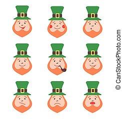 Set of Leprechaun avatars with emotions