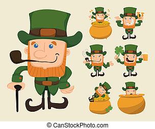 Set of leprechaun characters poses  , eps10 vector format