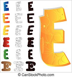 Set of letter E, filled with floral elements.
